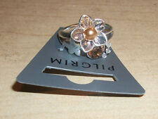 NEW PILGRIM SKANDERBORG, DENMARK Adjustable Golden Crystal & Pearl Flower Ring