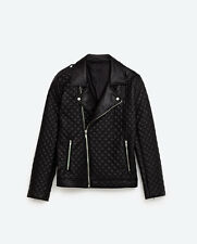 ZARA GENTS QUILTED BLACK FAUX LEATHER BIKER JACKET BNWT SIZE L, 100% AUTHENTIC