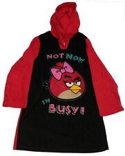 Angry Birds Pajama Red Black Hooded Sleep Top Size 12 Hoodie PJ Sleep Shirt NWT