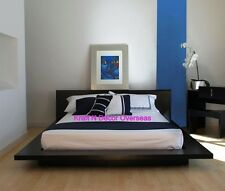 Comtempory Japenese Platform Style Double Bed of Shesham Wood in Black Colour