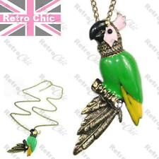 BIG KITSCH RETRO PARROT pendant LONG NECKLACE vintage brass CRYSTAL green enamel