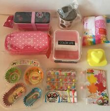 Big Pink Lunch Bento Box Kit With 3 Boxes, Divider Cups, and Lots Accessories