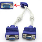 New VGA 15 Pin PC SVGA Male to 2 Double Female Monitor Y Adapter Splitter Cable