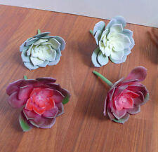 Set of 4 Artificial Small Snow Lotus Succulents Grass(2 Gray, 2 Red)