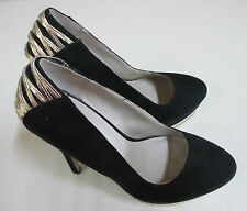 Betts Shoes - Platform Stiletto Black Suede with Gold Trim - Size 8