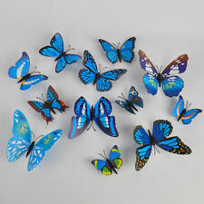12pcs Blue 3D Butterfly Wall Stickers Art Design Decal Decoration Home Decor V14