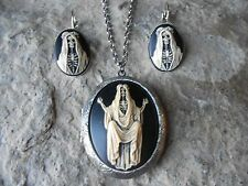 SANTA MUERTE HAND PAINTED CAMEO LOCKET AND EARRINGS - SKELETON, SKULL,