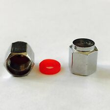 TYRE ALLOY WHEEL DUST VALVE CAP COVER WITH SEAL METAL HEAVY HEX 2 HEAD  X 4