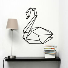 Geometric Swan Wall Decal Removable Bedroom Swan Art Mural Animal Wall Sticker