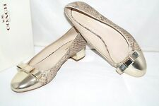 Authentic COACH Rivera Snake Print w/ Gold Bow Patent Leather Pumps Size 8 B