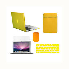 """5in1 Crystal YELLOW Case for Macbook PRO 13"""" + Keyboard Cover + LCD + Bag +Mouse"""