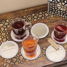 Set of 6 10cm Mirror Coaster Set with Diamante Edging Candle Plate Tea Coffee