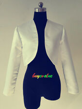 Satin Shrug Wedding Jacket Stole Bolero  long Sleeves Royal blue red UK 6-28