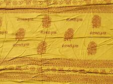 Yellow Silk Screened Hindu Deity Ganesh Wrap Shawl Scarf
