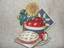 Home Interiors/Burwood Products Kitchen Wall Plaque Apples Sunflower Pie  VGC