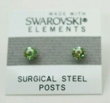 5mm Small Light Green Crystal CIRCLE Stud Earrings Children's SWAROVSKI ELEMENTS