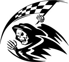 "Grim Reaper Flag Skull Decal Sticker Car Truck Window- 6"" Wide White Color"