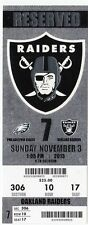 2013 RAIDERS VS PHILADELPHIA EAGLES TICKET STUB 11/3/13 NICK FOLES 7 TD RECORD