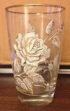 Vintage  Drinking Glasses 8 -12 Oz glasses with white and gold roses, gold rim