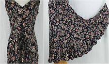 Vintage STARINA Black Floral Rayon Lace Up Bias Cut Flared Maxi Dress M