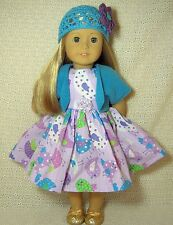 Doll Clothes Polka Dots Birds Purple Dress Shrug Hat 4pc fits American Girl *10