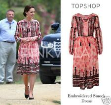 Topshop Embroidered Print Midi Dress - size 10