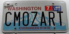"""Nummernschild USA Washington """"CMOZART"""" Evergreen State.  Vanity Schild. 13097."""