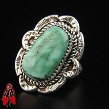 Beautiful Quality Green Turquoise Sterling Silver Ring Vintage Navajo sz 9.5