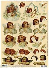 ANGELS CHERUBS  PRECUT  PAPER TOLE DIMENSIONAL GERMANY CARD  ORNAMENT COLLAGE