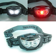 Head Torch Light Hands Free Lamp Bright White & Red LED Camping Night