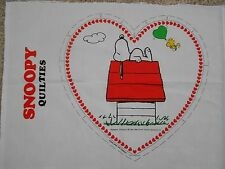 """Peanuts Snoopy On Doghouse Quilties Wall Hanging Fabric Panel 14"""" x 14"""""""