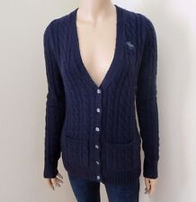Abercrombie Wool Cable Knit V-Neck Cardigan Size Small Sweater Top Shirt