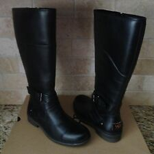 UGG EVANNA BLACK TALL WATER-PROOF LEATHER SNOW BOOTS US 9 WOMENS