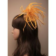 NEW Gold looped fabric and feather fascinator comb wedding races ascot prom ball