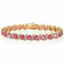 18K Gold over 925 Silver Created Pink Sapphire & Diamond Accent Tennis Bracelet