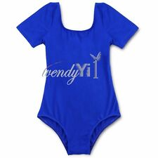 Child Girl Stretch Leotard School PE Dance Gymnastics Ballet Top Uniform Costume