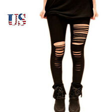 US Hot Women Ripped Skinny Leggings Pants Casual Frayed Hole Slim Jeggings Black
