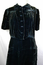 30s Crushed Rayon Velvet Large XL Green Ruched Shirred Evening Dress Goth