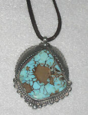 VINTAGE LARGE TURQUOISE & SILVER PENDANT Indian Art