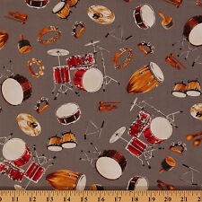 In Tune Musical Instrument Percussion Drums Cotton Fabric Print by Yard D470.13