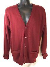 Vtg Jantzen Button Cardigan Sweater Burgundy Wool Blend Grandpa Sz L Made USA