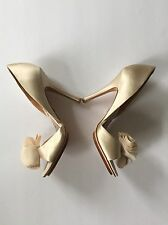 Badgley Mischka Thora Ivory Satin Bridal Wedding Evening Party Shoes - Size 8M