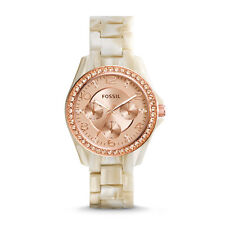 FOSSIL STELLA MULTI-FUNCTION ROSE DIAL PEARLIZED STRAP LADIES WATCH ES3579 NEW