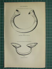 1849 PRINT ~ ARCHAEOLOGICAL GOLD ORNAMENTS BRAHALISH BANTRY JEWELRY