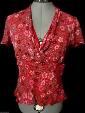 SPENSER JEREMY 100% Silk Ruffled Top S Red Floral V-neck empire waist Blouse SS