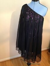 NWT Mark & James Badgley Mischka Size 12 Pink & Black Sequin One Shoulder Dress
