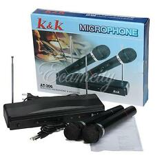 220V Dual Cordless Wireless 2 Mic Microphone +Receiver for Karaoke DJ Sing Song