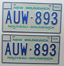New Brunswick 1987 SUPERB QUALITY License Plate PAIR # AUW-893
