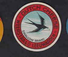 Ancienne  petite  étiquette  Fromage Hollande BN6093 Oiseau Hirondelle