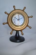 New Haven 8 Day Miniature Nautical Navy Ship Wheel Gilt Metal Desk Clock c.1940s